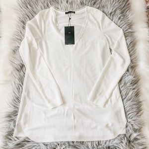 NWT Zara White Long Sleeve V-Neck Blouse M